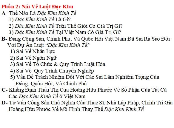 Hoàng Hữu Phước Nói Về Đặc Khu Kinh Tế Việt Nam (2)